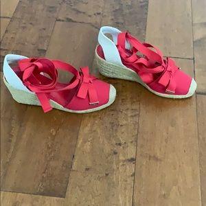 Ralph Lauren Espadrille Wedge Sandals, red
